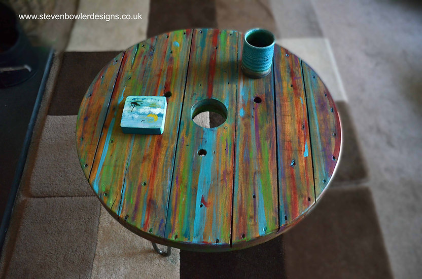 Multi Coloured Old Boat Wood Style Spool Coastal Coffee Table 61 cm x 61 cm