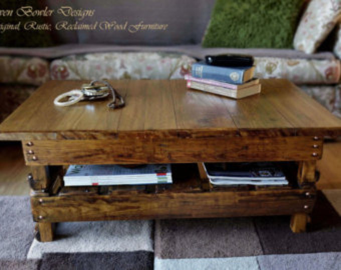 Reclaimed Wood Country Cottage Coffee Table in Medium Oak Stain