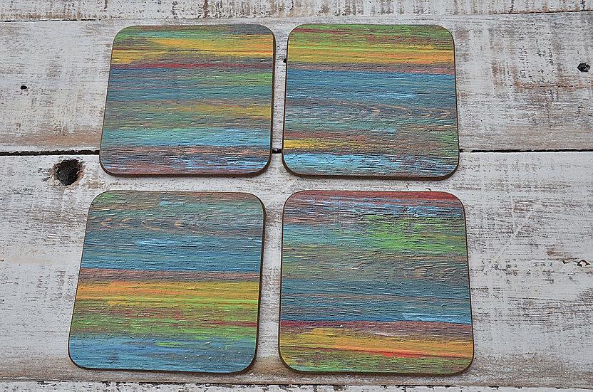 Multi Coloured Old Boatwood Style Coastal Cottage Coffee Table Coasters