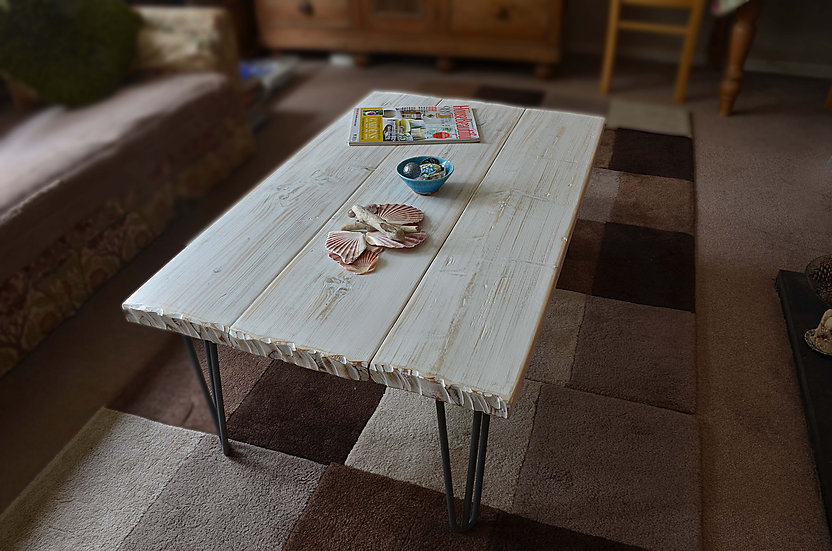 White Coastal Driftwood Effect Coffee Table with Stylish Hairpin Legs