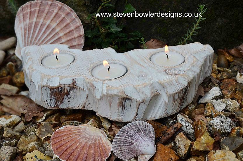 White Coastal Cottage Tealight Holder Driftwood Effect Finish Made to Order