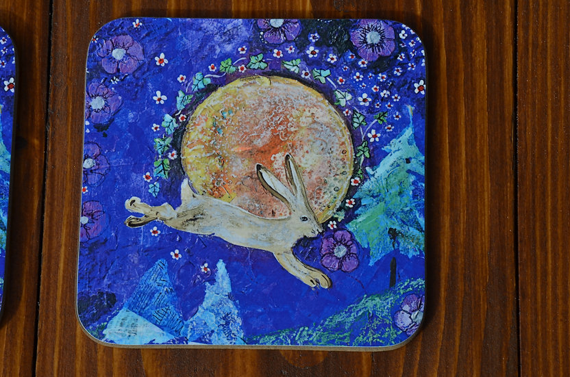 4 Coffee Table Coasters Printed with our Leaping Celtic Hare & Harvest Moon