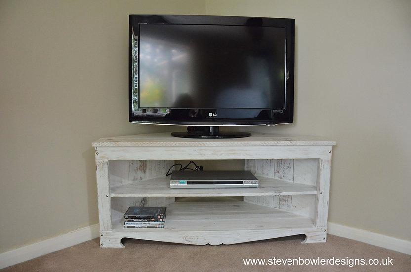 White Coastal Cottage Corner TV Unit in Driftwood Effect Finish
