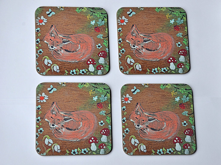 4 Coffee Table Coasters Printed with our Unique Woodland Fox Design