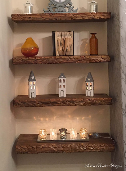 Bespoke Country Cottage Dark Oak Stain Floating Shelves with Decorative Edging