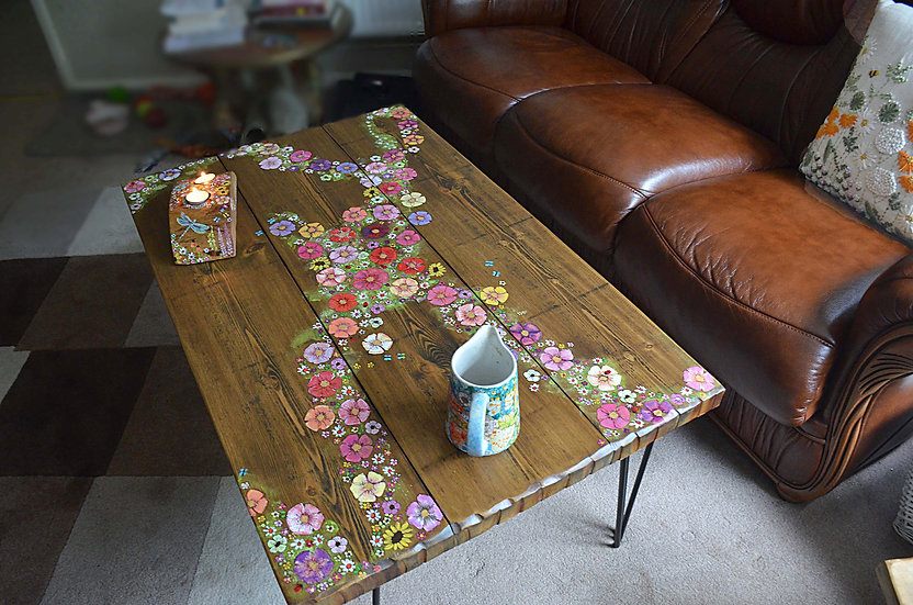 CUSTOM ORDER FOR Julie for a bespoke duck egg blue country cottage flower table