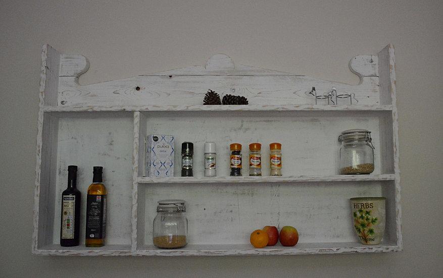 White Coastal Cottage Reclaimed Wood Kitchen Storage Shelving Unit