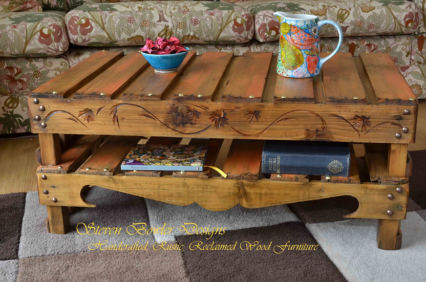 BURN'T ORANGE Country Cottage Rustic Reclaimed Wood Coffee Table