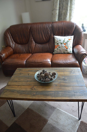 Bespoke Country Cottage Dark Oak Stain Coffee Table with Black Hairpin Legs