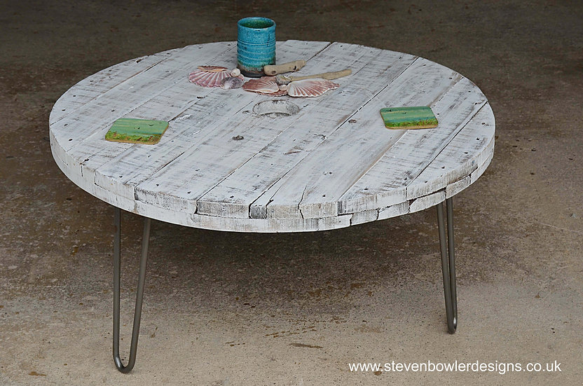 Bespoke White Coastal Cottage Round Spool Top Style Coastal Coffee table