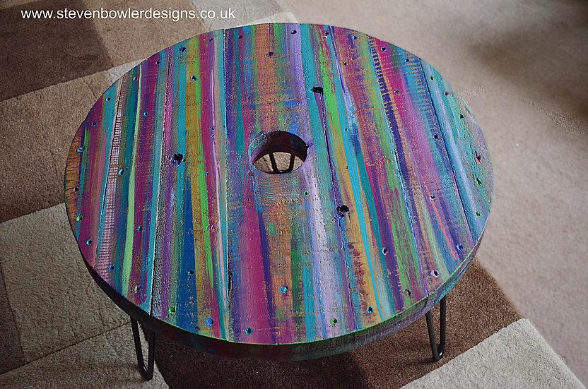 Multi Coloured Old Boat Wood Style Spool Coastal Table 61 cm x 61 cm