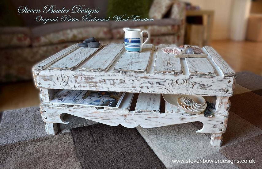 Bespoke White Coastal Cottage Reclaimed Wood Coffee Table Driftwood Style Finish