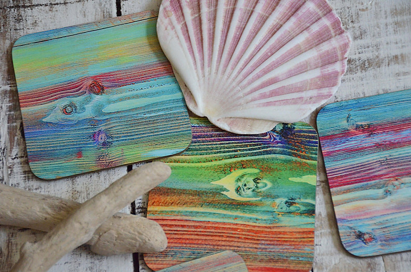 IN STOCK Set of 4  Coastal Cottage Multi Coloured Old Boat Printed Coasters