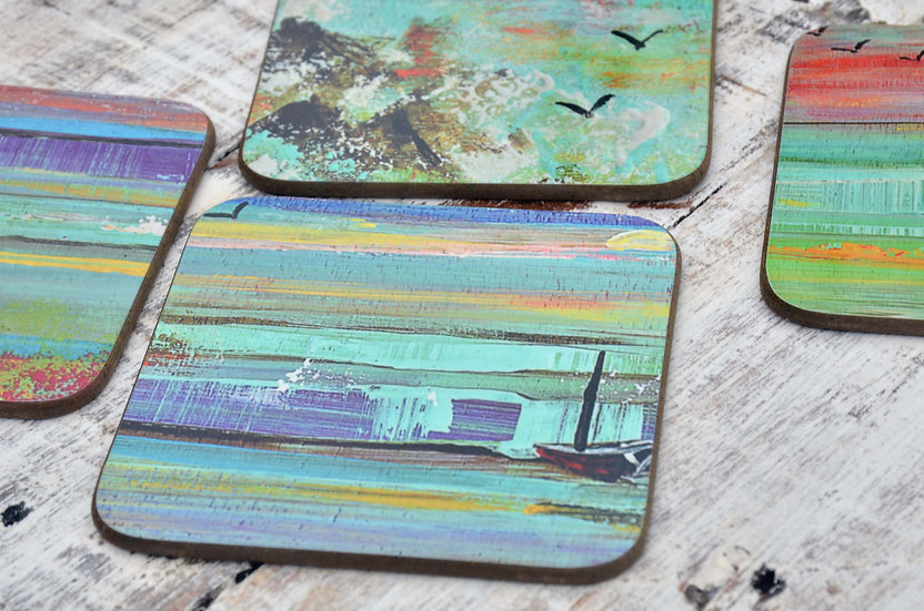 Set of 4 Coffee Table Coasters Printed with  Hand Painted Sunset Seascape