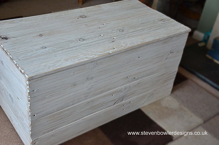 CUSTOM ORDER For Catherine for a bespoke white coastal blanket box