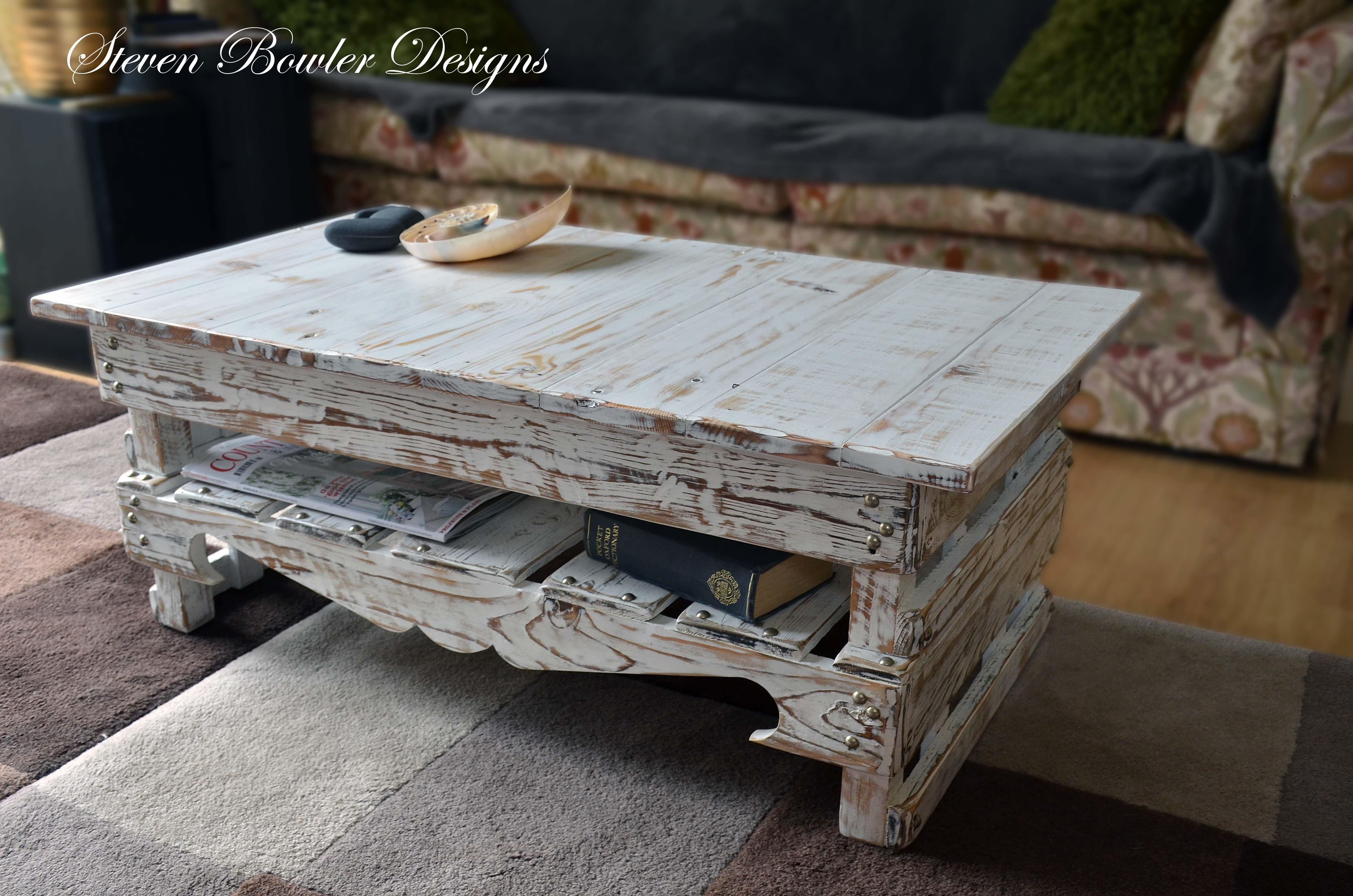 White Coastal Cottage Driftwood Style Finish Coffee Table