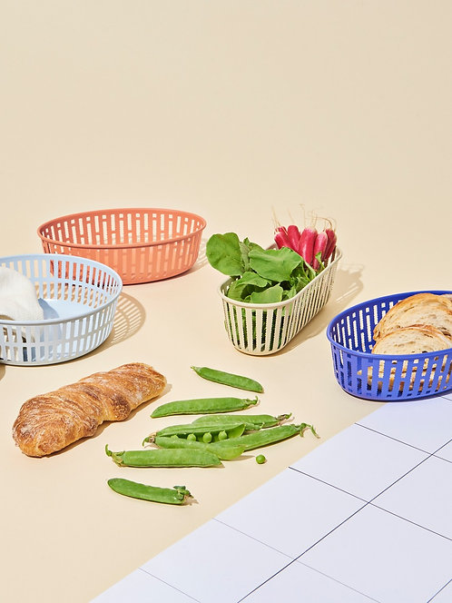 Panier Basket Collection by Inga Sempé for HAY. Metal and foodsafe, can be used across the home for all organization needs.