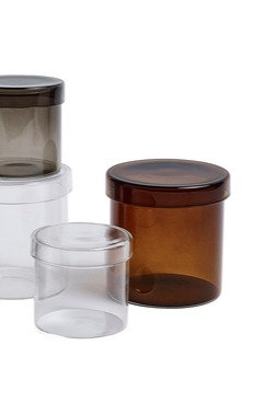 Container by HAY - A collection of glass catch all jars to gather all those small things. Paperclips, jewellery, Q-tips.