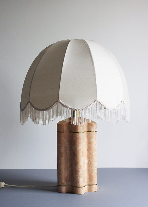 PINK MARBLE SCALLOPED LAMP