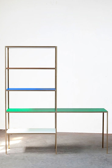 RACK + TABLE S BRASS - BLUE + GREEN