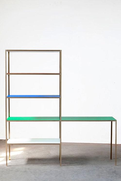 RACK + TABLE S BRASS - BLUE + GREEN