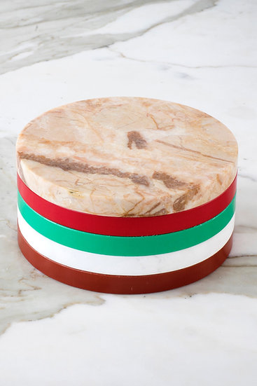 Muller Van Severen 5 Circles, Luxury Kitchen Cutting Boards, Colourful Marble and Plastic, Stacked, Front View