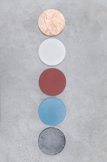 Muller Van Severen 5 Circles, Luxury Kitchen Cutting Boards, Marble and Plastic Top View Blue Red Pink Black