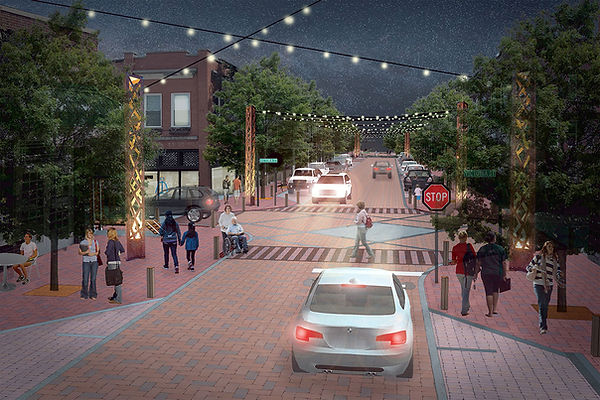 Rendering of future streetscape looking south from Victoria and Trade