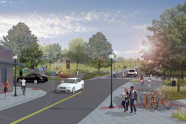 Rendering of future streetscape looking onto East Poinsett Street near Greer City Park