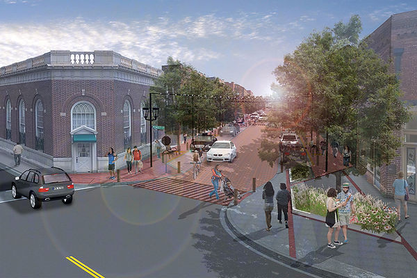 Rendering of future streetscape looking south from East Poinsett and Trade Streer