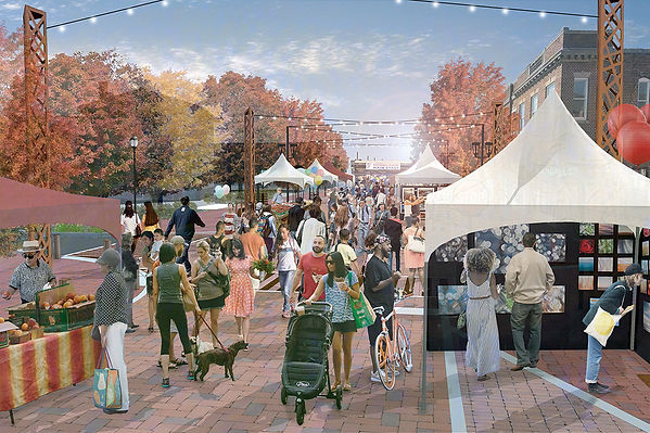 Rendering of future streetscape during a festival