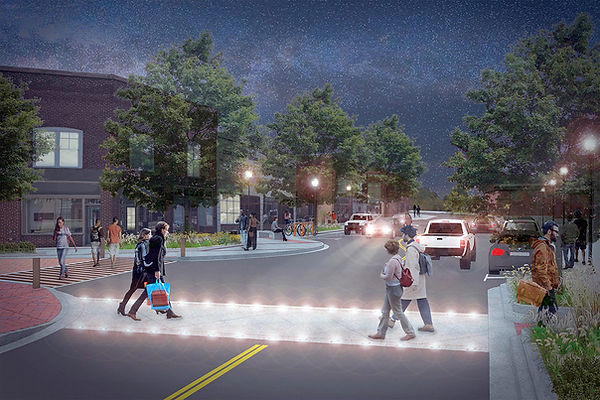 Rendering of future streetscape with a lighted crosswalk on East Poinsett Street