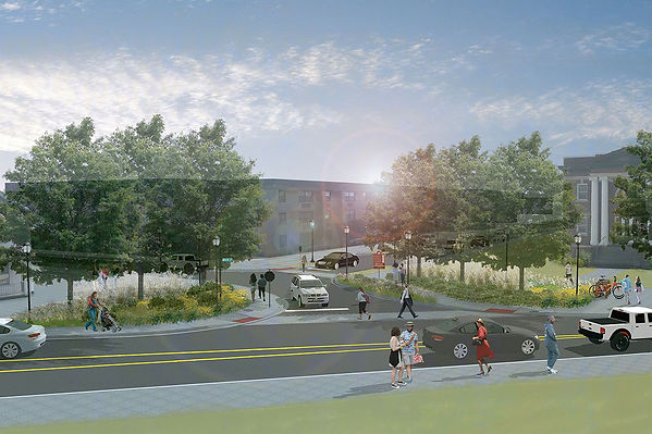 Rendering of future streetscape looking at South Main towards Victoria Streer