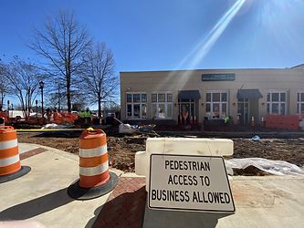 A pedestrian access allowed sign is up on Victoria Street during construction