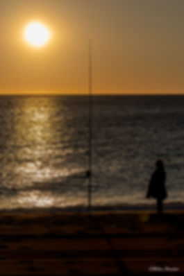 lever de soleil mer enfant péche pécheur