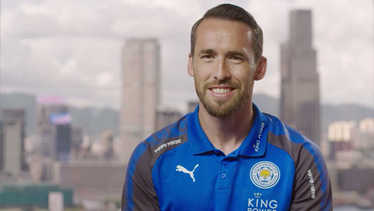 Christian Fuchs talks business with DHL at Premier League season