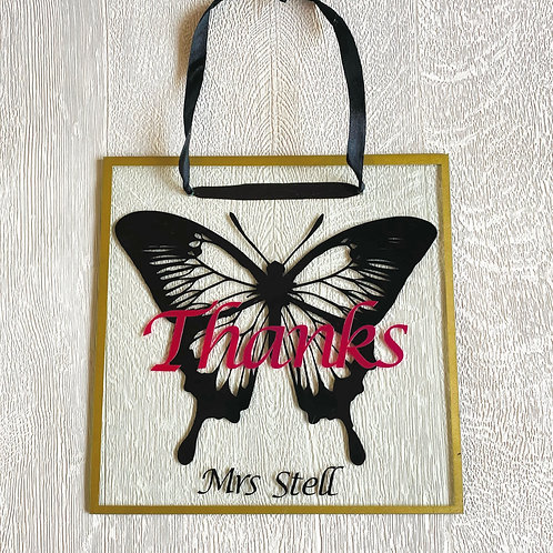 Glass Butterfly Plaque