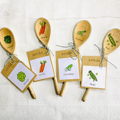 Wooden Spoon Garden Stakes with Seeds