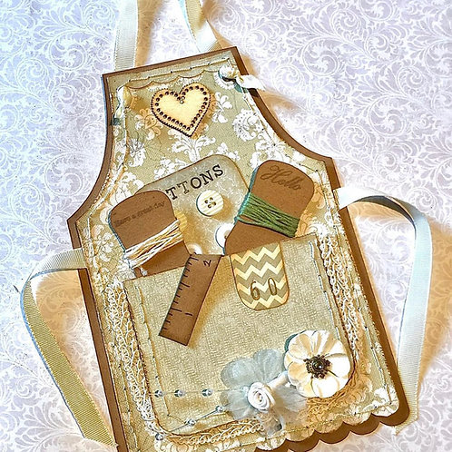 Sewing apron greetings card