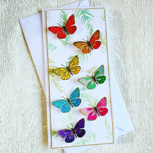 Rainbow butterfly slimline card