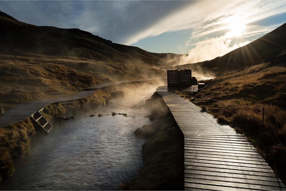 Iceland's hot river in Reykjadalur Valley