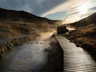 Iceland's Hot River in Reykjadalur Valley