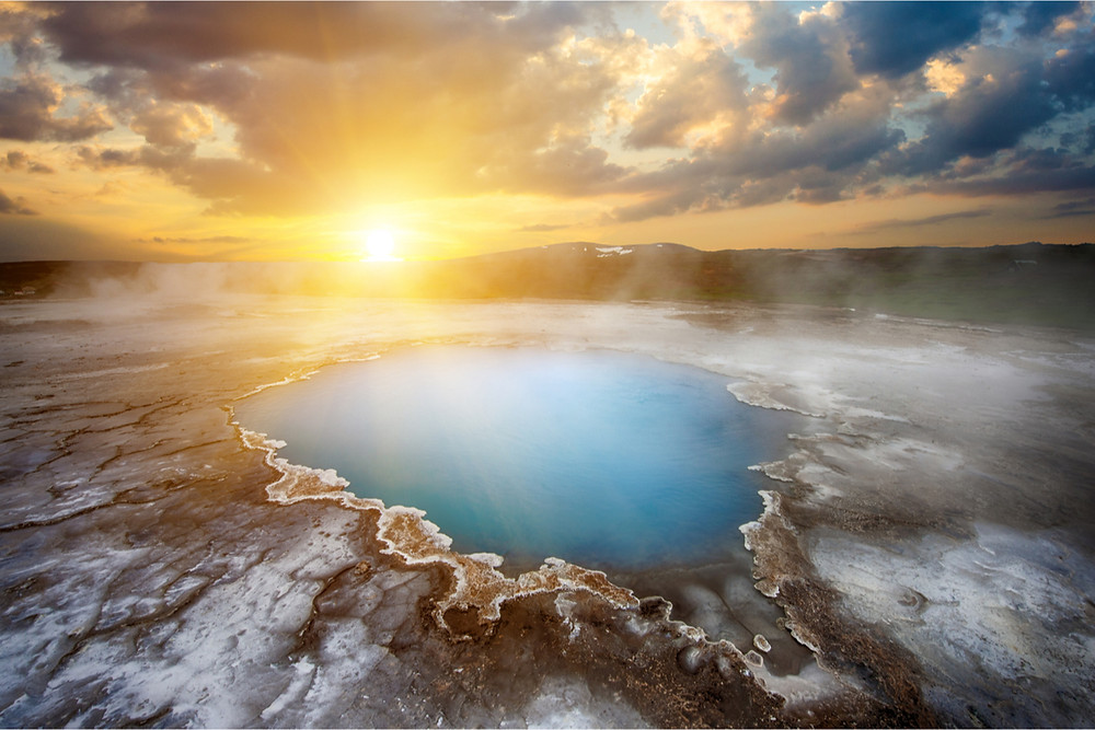 The Midnight Sun in Iceland over a crater