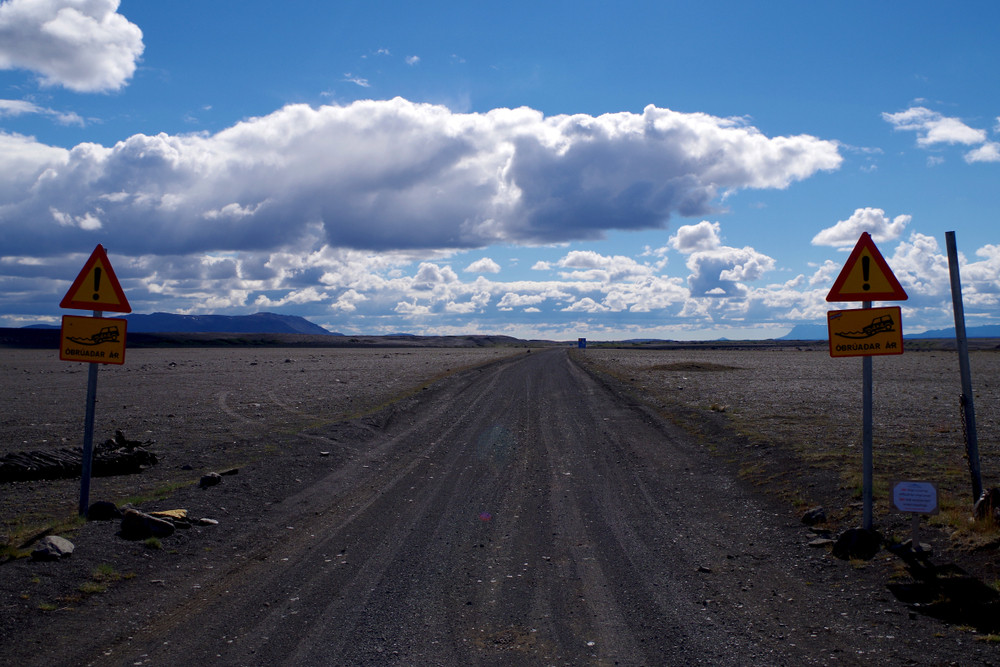 F-Road leading to Iceland's Highlands on campervan road trip