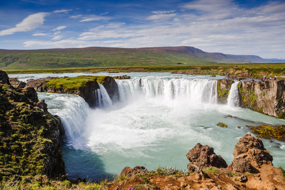 When traveling Iceland by campervan in summer, Godafoss is a top thing to do