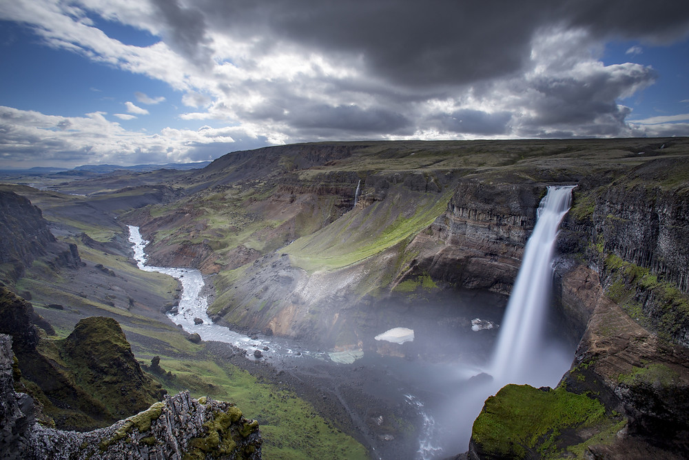 Haifoss waterfall Iceland in the Highlands