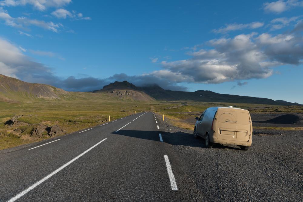 Campervan Parked Roadside during Winter