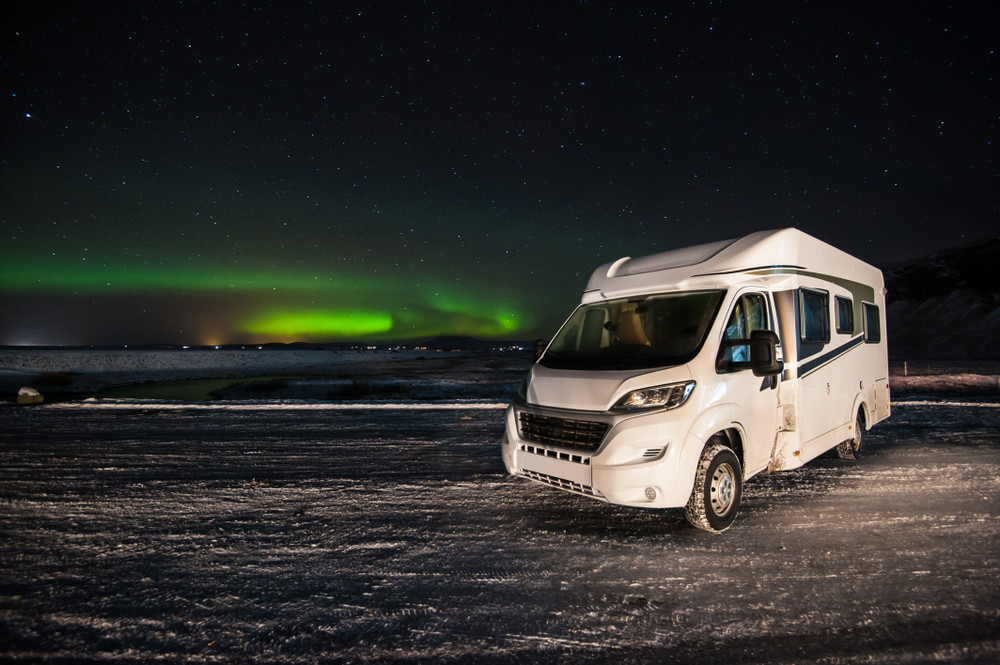 RV rental in Iceland motorhome with Northern Lights