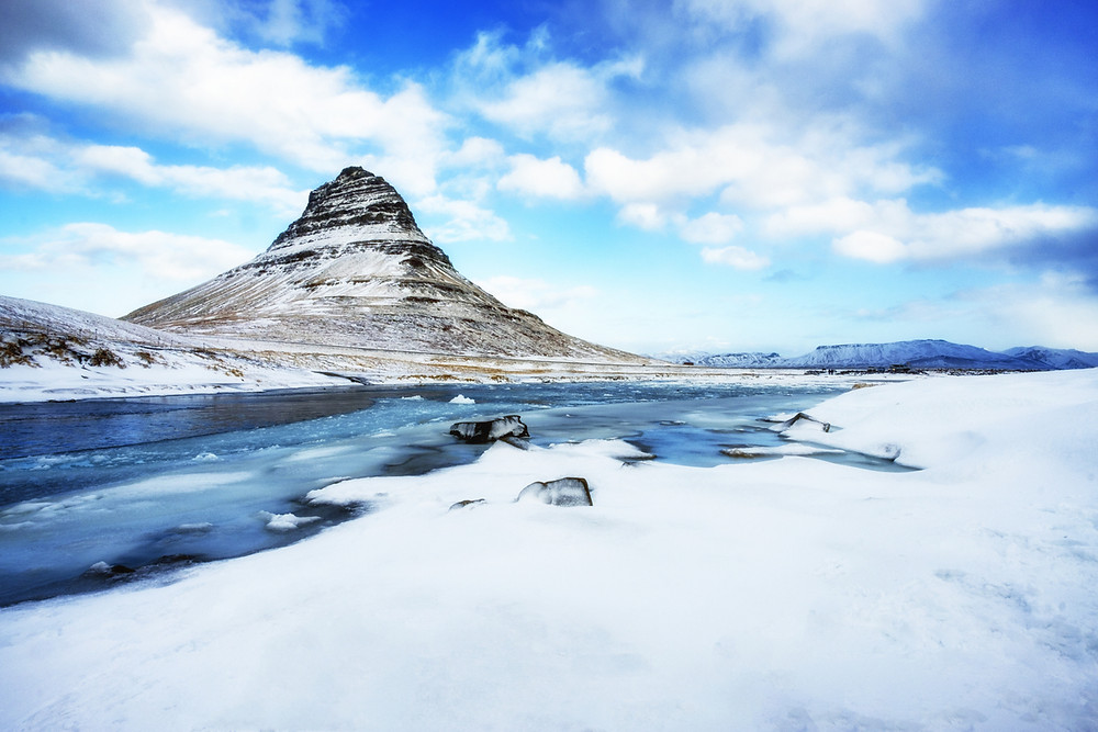 Kirkjufell mountain in Iceland in the winter