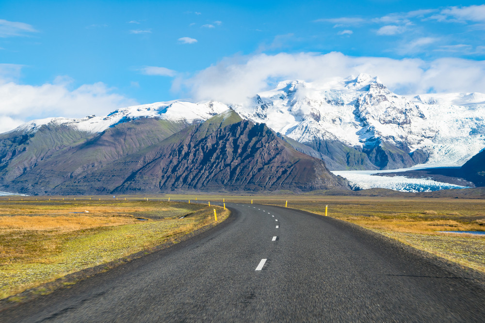 Iceland's Ring Road with glacier from 4x4 camper van